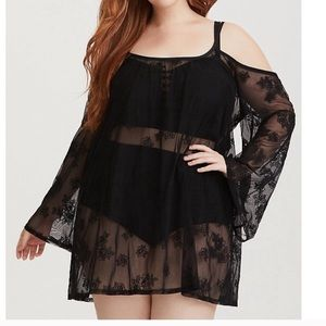 Torrid black sheer swimsuit coverup